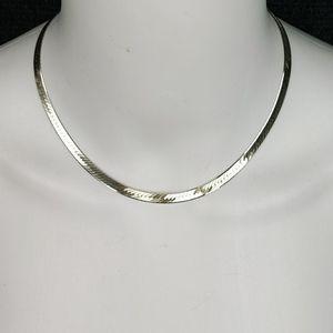 Vintage 925 Silver Herringbone Necklace
